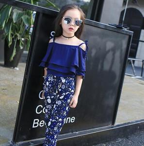 Girl Boutique Clothing Sets Baby Off Shoulder Tops Pant Set шифоновая футболка цветочный принт брюки детская пляжная одежда костюм GGA3508