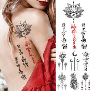 Impermeabile Temporary Tattoo Sticker Yoga Lotus Totem Flash Tatuaggi Rosso Nero Word Body Art braccio falso Tatoo delle donne degli uomini
