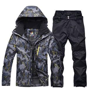noir gris homme vêtements de snowboard professionnel combinaison de ski ensembles imperméables coupe-vent hiver costumes de plein air manteaux de neige + pantalons