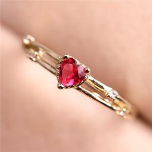 Chapeamento Rose Gold Ring Amethyst Luxurious amor Cai Bao Cristal Anel de diamante