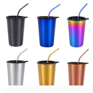 Coffee Mugs Nordic Stainless Steel Tumblers Kits Reusable Wine Glass Cold Drinking Cup Car Drinkware with Lids Straws 4 Designs WZW-YW3646