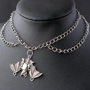 Mehrschichtige Halskette Penta Pfeil-Halskette Triangular Sun Bat Choker Vogel-Schädel-Leben-Baum-Anhänger-Halskette Ohm Gothic Hip Hop Schmuck
