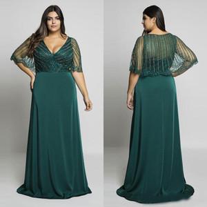 Hunter Green Perlen Plus Size Prom Kleider V-Ausschnitt Abendkleider mit Wrap a-line Bodenlänge langes formelles Kleid