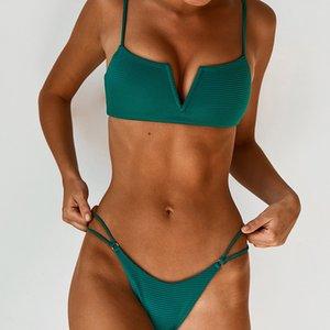 Green Leopard Swimsuit Bikini Big V-collar split Swim Wear Sexy Women Swimwear Bikini Set