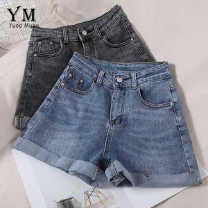 YuooMuoo Women Denim Shorts Casual All Match Crimping High Waist Jeans Shorts Korean Fashion Blue Black Jeans Ladies