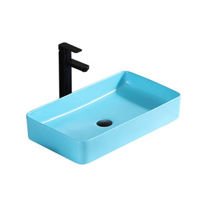 Nordic minimalista Blu Art contatore sopra il bacino singolo lavello casa Bagno Lavare a mano bacini lavabo in ceramica