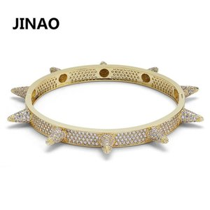 Hip Hop Bling Cubic Zircon Rivet Bracelet Punk Heavy Metal Popular Personality Bracelet Accessories Men Women Bracelets