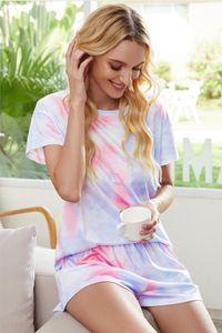 Gratuito per Pigiama tiedye per Womens girocollo Tie Dye pigiama corto Imposta Set Tie Dye Pigiama stampa floreale Garden2010