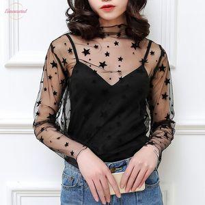 Sexy Harajuku Mesh Tops Women Summer Net See Through T Shirt Hollow Out Transparent Tee Shirt Femme Star Polka Dot Top