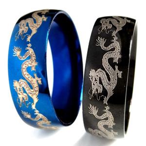 36pcs / lotto Nuovo disegno nero Blue Dragon Anello fresco mens di stile punk Comfort misura i monili dell'acciaio inossidabile 316L Anello Unico Vintage