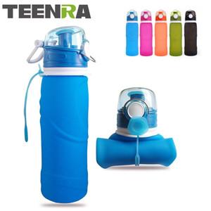 Teenra 750ml 접이식 실리콘 물병 실리콘 접는 주전자 야외 스포츠 물병 캠핑 여행 실행 병 T8190627