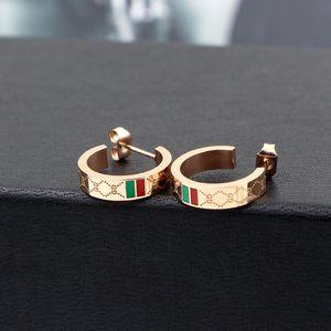 Yeni Geliş Marka Tasarımcı Halkalar Üst Kalite G harfli 3 Renkler Paslanmaz Çelik Altın Kaplama Küpe Kulak Çıtçıt Kadınlar Takı Noel hediyesi
