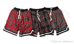 Hombre del modelo retro tela escocesa escocesa Pantalones cortos Calle Hip Hop casual Pantalones cortos masculino flojo elástico de la cintura de la cremallera Pantalones cortos shorts de playa