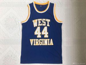 NCAA West Virginia Montañeros # 44 Jerry West College Jerseys Retro High School Basketball Blue Steins Vintage Jersey S-XXL Gota Envío