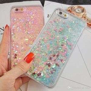 Mytoto Роскошный Жидкий Блеск Sand Star Чехлы для Мобильных Телефонов Для iPhone 6 6s 5 5S 5SE 7 7 Плюс Сердце Динамический Пластиковый Назад Мягкий Край Fundas
