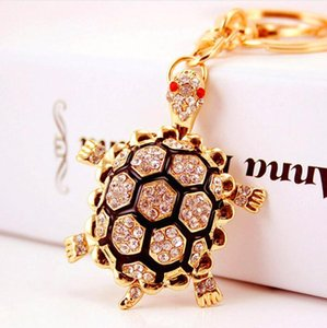 DHL Cute Turtle rhinestone keychain for women bag cute pendant car key alloy nf keyring gift Party Supplies 5.6*4.2cm
