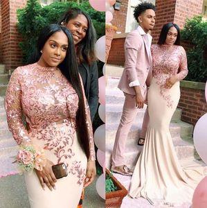 Pink Satin Mermaid Black Girls Prom Dress 2020 South African Sheer Long Sleeves Evening Party Gowns vestidos de fiesta Long Formal Dresses