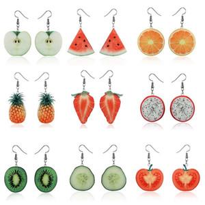 جميل أكريليك الفاكهة قلادة أقراط استرخى إسقاط أقراط معلق الفراولة الأناناس الطماطم الكيوي البرتقال الخيار pitaya الخ
