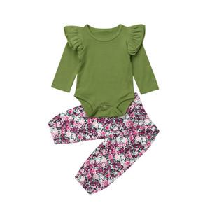 Newborn neonate vestiti Ruffle maniche lunghe tuta pagliaccetto floreale a vita alta pantaloni lunghi Outfit Set