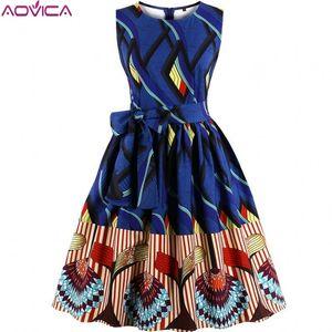 Aovica S-4XL Плюс Размер Женская Африканская одежда Платье Без Рукавов Лето Dashiki Платья vestidos de fiesta