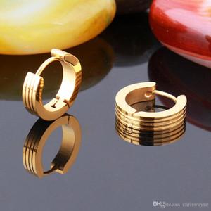 New High Quality Cool Mens Stainless Steel Hoop Piercing Ear Earring Studs Jewelry Unisex Gold Earrings