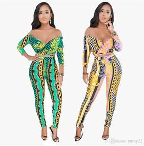 Spring женские дизайнерские 2pcs Брюки сексуальных женщин Цифровая печатная Набор моды Разрез шеи тонкий Комбинезон