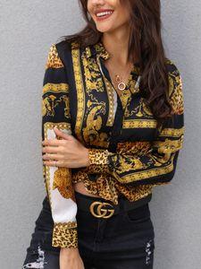 Frühlings-Frauen-eleganter Partei loser Knopf Hemd Umlegekragen Weiblicher Leopard Sexy Druck und Knoten Langarmbluse Hot Sale