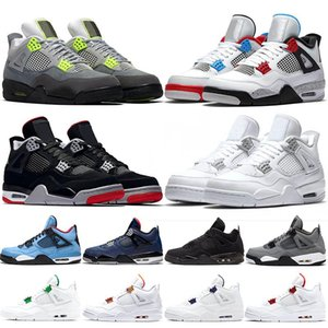 jumpman 4s Men Basketball Shoes 4 What the Neon Bred Pure Money Metallic Pack Black Cat Chaussures Mens Trainers Sport Sneaker Size 40-47