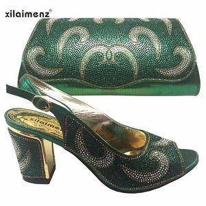 Green Çanta Parti Ayakkabı Eşleştirme ile Seksi Stil Nijeryalı Ayakkabı ve Çanta Seti 2019 Moda Afrika Parti Ayakkabı ve Çanta Ayakkabı