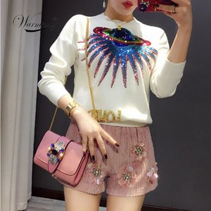 Warmsway Autumn UFO planet sequins letters knit pullovers female sweater jumper Long Sleeve Loved letter Sweater C-010 T200101