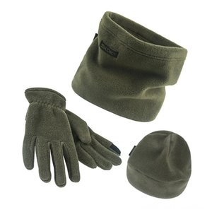 3pcsset Scarf Hat Gloves Set ThreePiece Winter Warm Set Fleece Slouchy Beanie Hats Sports Caps & Headwears Athletic & Outdoor Accs Scarves W