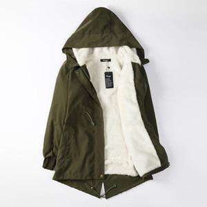 Женская мода с капюшоном куртка флис пальто зима теплая с длинным рукавом пальто женский черный армия зеленый длинные парки и пиджаки плюс размер 5XL