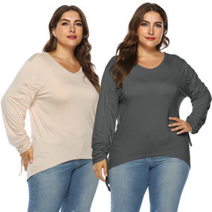 Autumn Winter New Plus Size Tee Shirts Women Simple V Neck Adjustable Long Sleeve Tops T Shirt Blouses For Women