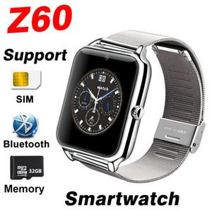 Montres intelligentes Bluetooth Téléphone Z60 Montre intelligente Montre de téléphone Soutien en acier inoxydable Carte SIM TF TF GT08 X6 DZ09 Q18 Y1 Smartwatch pour IOS Android