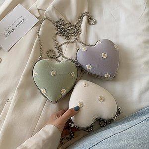 Women Sunflower Purse Handbag Fashion Love Heart Shape Shoulder Bag Women Chain Crossbody Bag Ladies Purse and Clutch