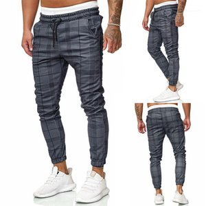Plaid impreso lazo Slim Mens lápiz pantalones Casual para hombre pantalones para hombre diseñador pantalones