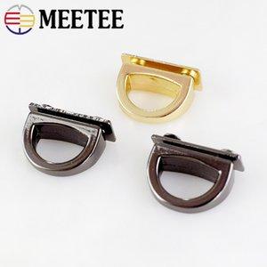 Meetee 14mm Metal D Ring Bag Side Clip Buckles Screw Handbag Chain Hang Buckle Accessori hardware fai-da-te Catenacci Catenacci Accessori