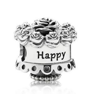 Original 925 Sterling Silver Bead Feliz Aniversário Rose bolo charme Fit Pandora Pulseiras Mulheres Colar DIY jóias