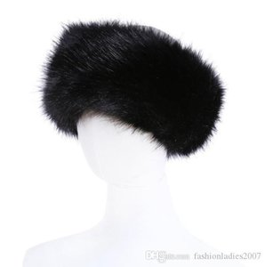 10 colors Womens Faux Fur Headband Luxury Adjustable Winter warm Black White Nature Girls Fur Earwarmer Earmuff Hats For Women