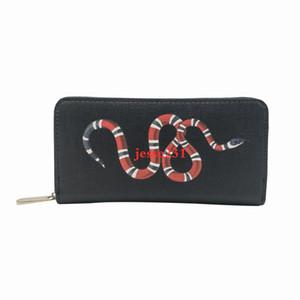 Commercio all'ingrosso di alta qualità degli animali lungo stile cerniera portafoglio delle donne degli uomini titolare della carta di Portafoglio Tiger ape borsa dei raccoglitori serpente nero con la scatola di 6 colori