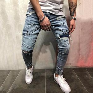 Mens refrescan lápiz los pantalones vaqueros flacos de las Stretch Slim Fit Hip Hop destruidos rasgado con agujeros para los hombres