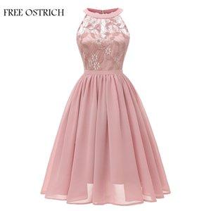 ttttttttyye Women Wedding Floral Lace Neckline Dress Evening Party A-line Swing Formal Elegant Dress