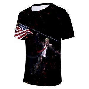 Pull homme Tops respirant Hemme Casual Tissu américain Donald Trump élection 3D Print Man T-shirt Designer