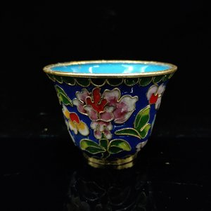 Chinese Antique Filigree enamel Flowers Pattern Cup JTL066