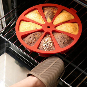 Pastel de nuevo para hornear la torta del silicón 3D del molde 8 Puntos Pastel de silicona del molde para hornear pan magdalena de la jalea pan de molde de pastelería Moldes Cacerola de la pizza