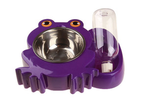 1PCS New Frog Shape Pet Water and Food Feeder Pet Dog Stainless Steel Bowl Set Cat Bowl Silicone Mat With Water Bottle