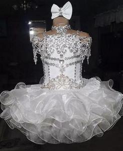 Weiße Perlen Strass Organza Ballkleid Cupcake Mädchen Festzug Kleid Kleinkind kleine Mädchen Cupcake Puffy Kleider Abendgarderobe Kleider