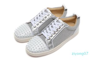 Desenha sapatos Pico júnior bezerro Low Cut Mix 20 parte inferior vermelha de luxo partido sapatilha sapatos de casamento de couro genuíno Spikes Lace-up Z07 Casual