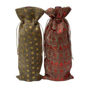 Jüt Şarap Şişesi Çantası Şampanya Şarap Kör Ambalaj Kapakları Hediye Çanta Rustik Hessen Noel Düğün Yemeği Masa Süslemeleri EEA9226