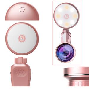 Girlwoman 8 LED Flash Light 185 Fisheye Fish Eye Grand Angle Macro Mobile Téléphone Lentille pour Smartphone 360 Degrés Rotation Led Lumière